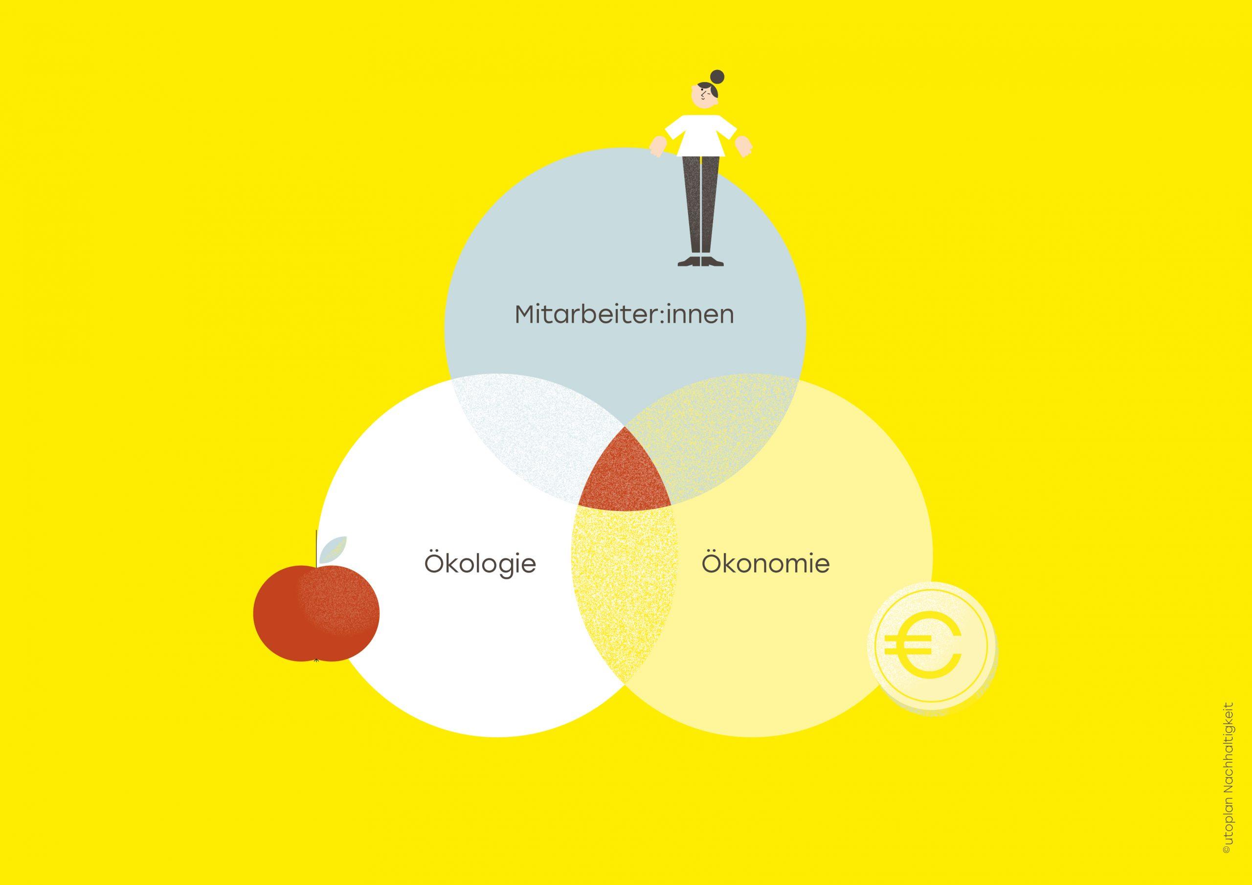 Schaubild: drei Bereiche der Nachhaltigkeit - Ökologie, Ökonomie und Soziales